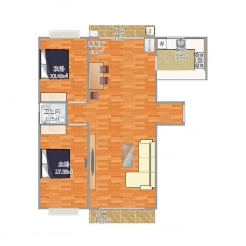 品家都市星城一期2室1厅1卫1厨128.00㎡户型图