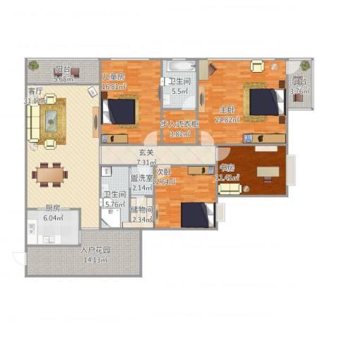 帝豪水岸印象4室2厅2卫1厨206.00㎡户型图