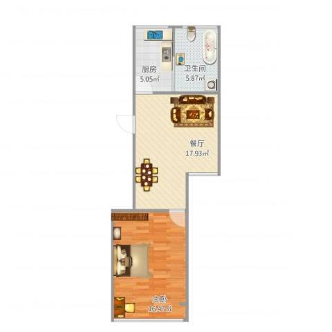 牡丹路225弄小区1室1厅1卫1厨61.00㎡户型图