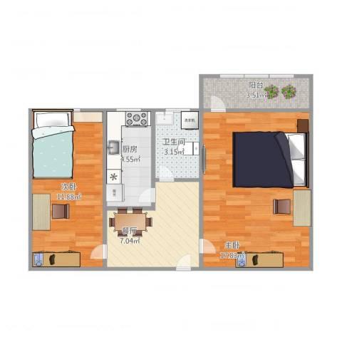 大井中里2室1厅1卫1厨65.00㎡户型图