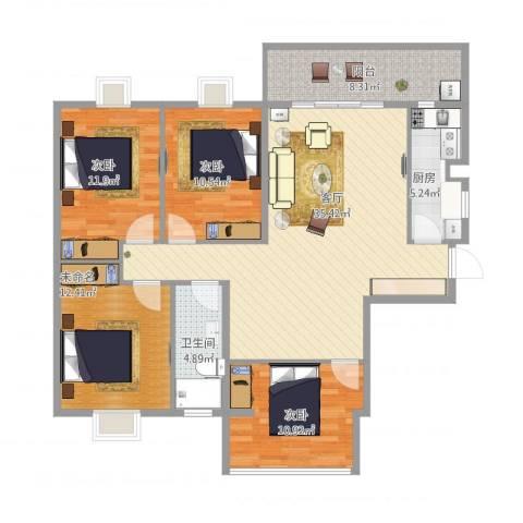 鸿福花园C/D栋03、05户型3室1厅1卫1厨138.00㎡户型图