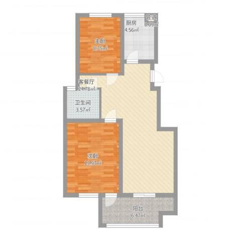 江南雅苑2室1厅1卫1厨90.00㎡户型图