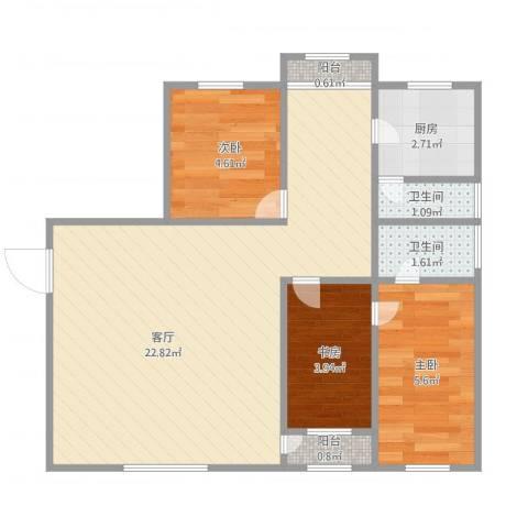 鹏顺园3室1厅2卫1厨61.00㎡户型图