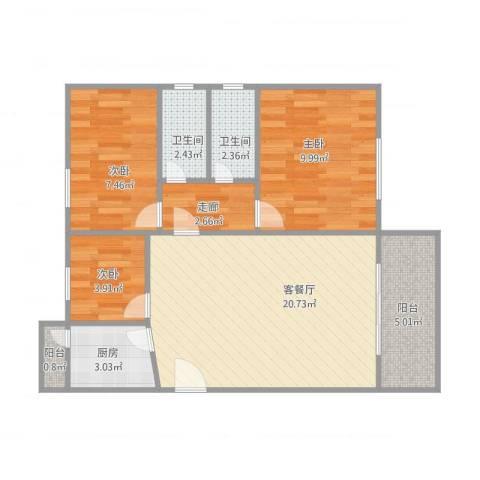 今日家园2座4063室1厅2卫1厨80.00㎡户型图