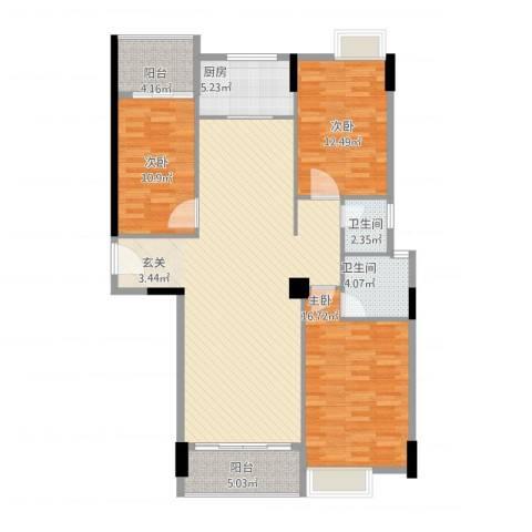 天和豪庭3室1厅2卫1厨145.00㎡户型图