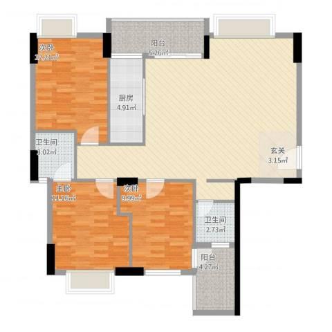 天和豪庭3室1厅2卫1厨132.00㎡户型图