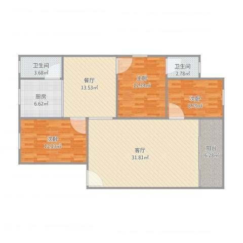 府又花园1座1梯6013室2厅2卫1厨131.00㎡户型图
