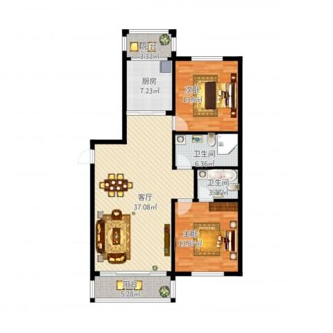 天通苑北三区2室1厅2卫1厨128.00㎡户型图