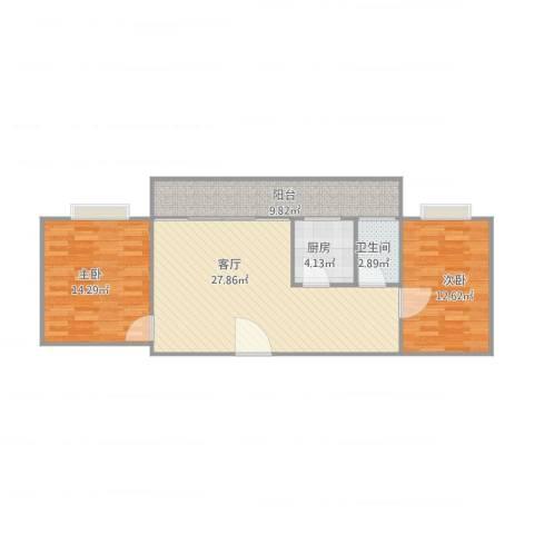 红棉雅苑13楼2室1厅1卫1厨96.00㎡户型图