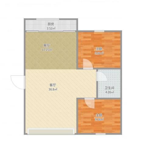 翠竹南里2室1厅1卫1厨85.00㎡户型图