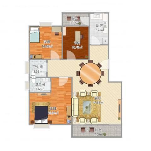 丽日玫瑰3室1厅2卫1厨152.00㎡户型图