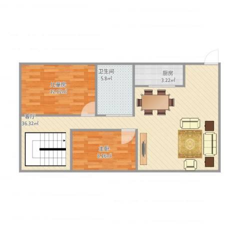 湖畔翠庭2室1厅1卫1厨88.00㎡户型图