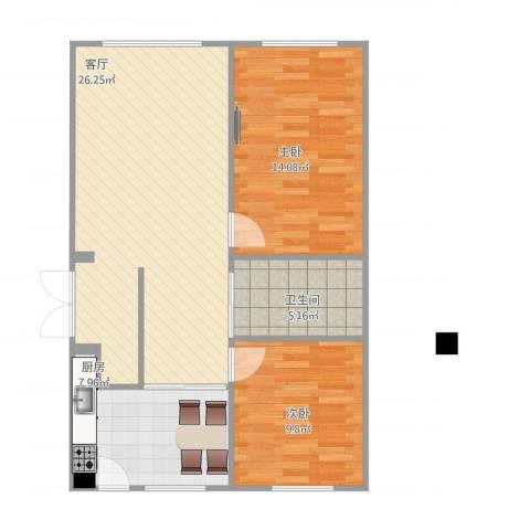 上城左岸2室1厅1卫1厨86.00㎡户型图