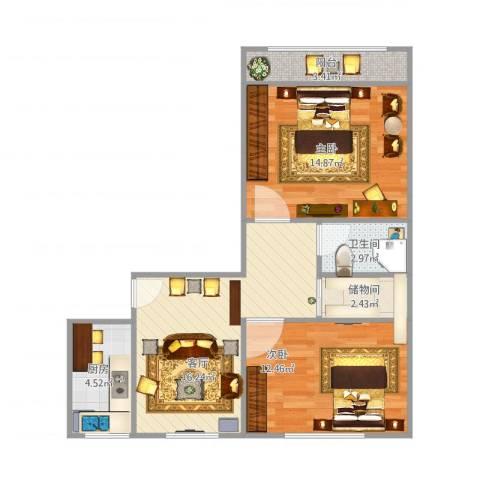 青塔秀园2室1厅1卫1厨78.00㎡户型图