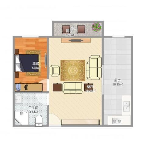 福满家园1室1厅1卫1厨61.00㎡户型图