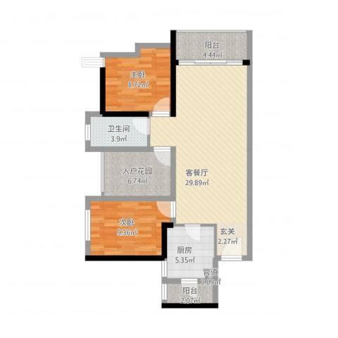 佳兆业御府2室1厅1卫1厨102.00㎡户型图