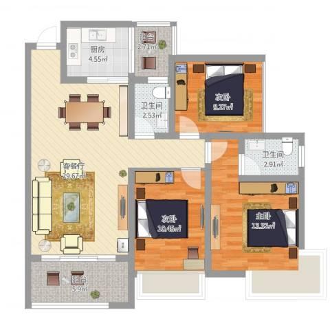 翡翠山河3室1厅2卫1厨118.00㎡户型图