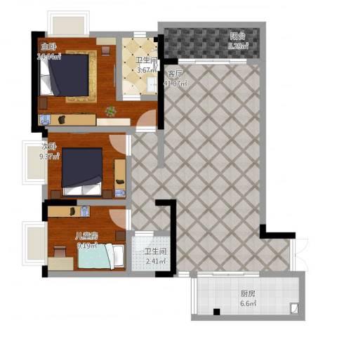 富洲新城D街区3室1厅2卫1厨134.00㎡户型图