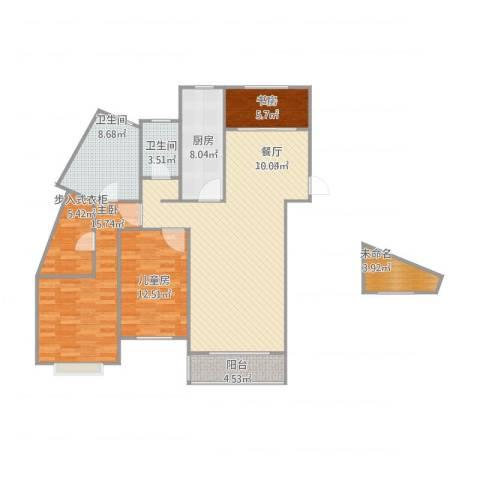 维多利亚广场3室1厅2卫1厨144.00㎡户型图