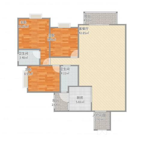 桃源小区3室1厅3卫1厨129.00㎡户型图