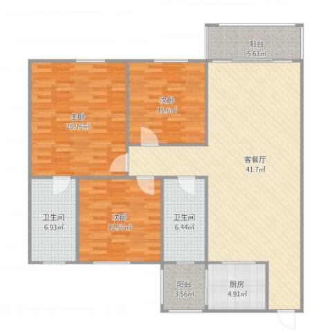 东怡花园4区2座11083室1厅2卫1厨152.00㎡户型图
