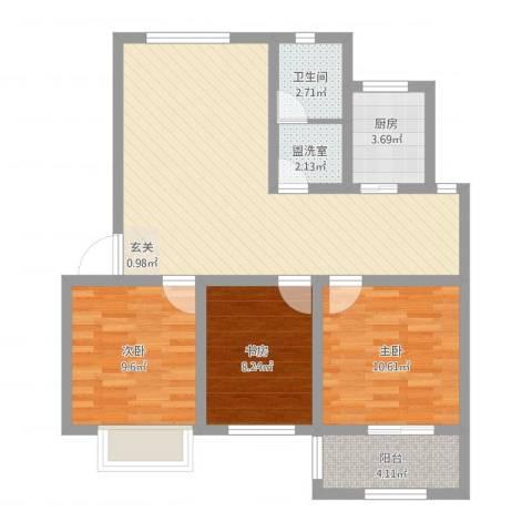 盛世嘉苑二期荷塘月舍3室2厅1卫1厨100.00㎡户型图