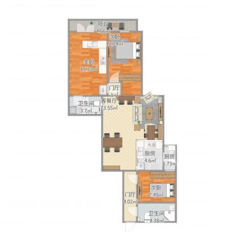青塔东里3室1厅2卫2厨113.00㎡户型图