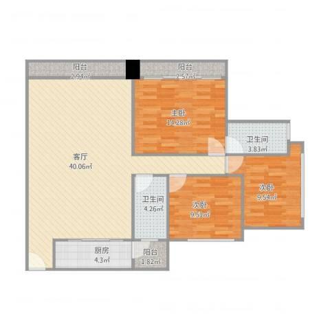 怡翠宏璟1座7053室1厅2卫1厨126.00㎡户型图