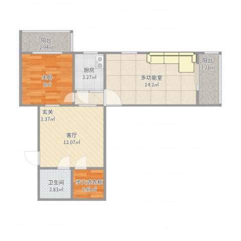 双旗杆东里1室1厅1卫1厨69.00㎡户型图