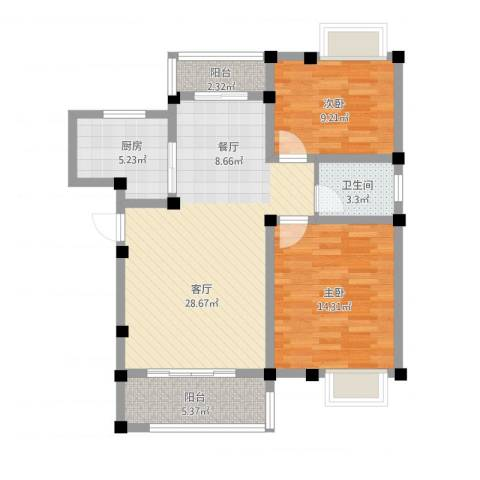 重汽翡翠东郡2室1厅1卫1厨99.00㎡户型图