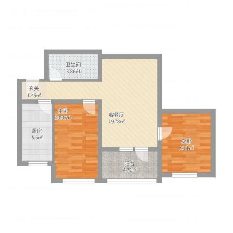 富华家园2室1厅1卫1厨77.00㎡户型图