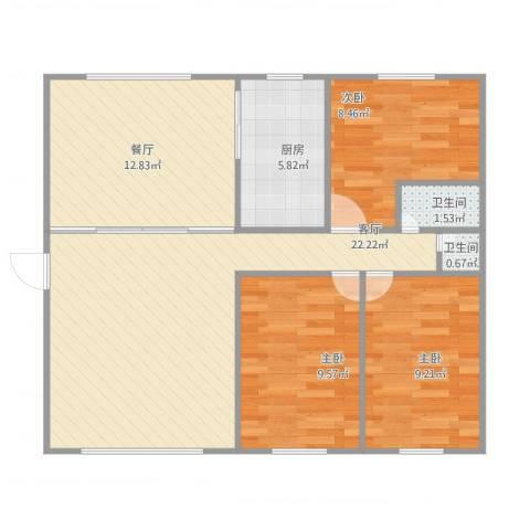 兽医站小区3室2厅2卫1厨95.00㎡户型图