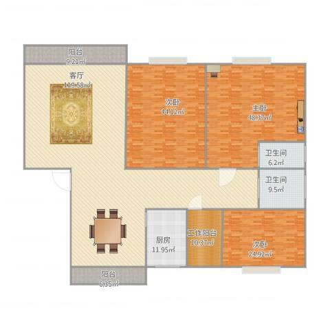 珠江玫瑰花园3室1厅2卫1厨380.00㎡户型图