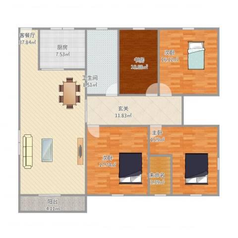 福康花园4室1厅1卫1厨179.00㎡户型图