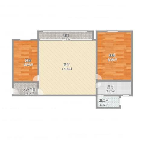 洪德雅苑2室1厅1卫1厨55.00㎡户型图