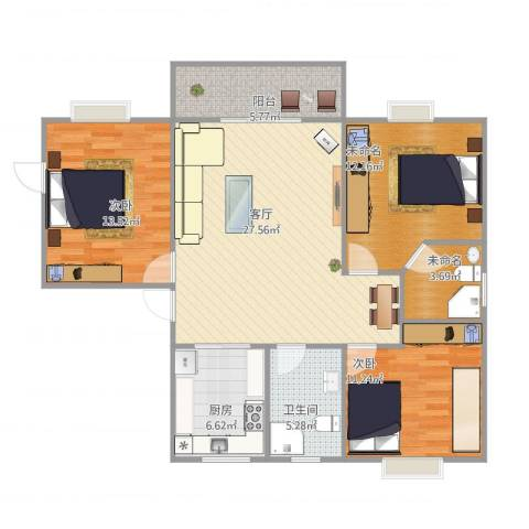 润和花园2室1厅1卫1厨115.00㎡户型图