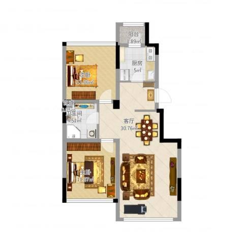 巴黎左岸2室1厅1卫1厨94.00㎡户型图