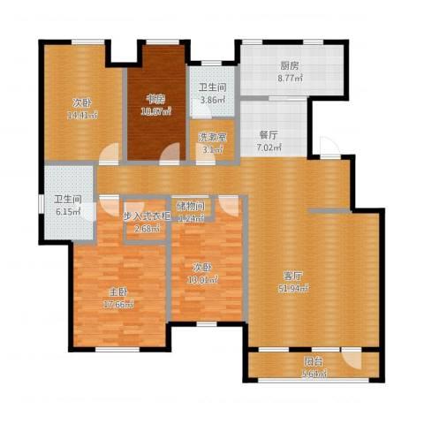 万科金域蓝湾4室1厅2卫2厨195.00㎡户型图