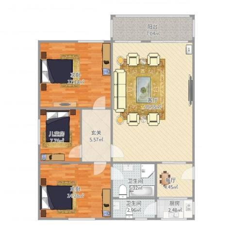 桂海大厦3室2厅2卫1厨138.00㎡户型图