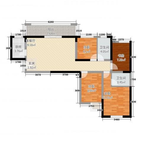 连城别苑四期4室1厅2卫1厨121.00㎡户型图