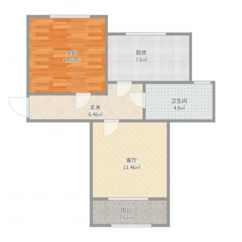 玉兰小区1室1厅1卫1厨62.00㎡户型图