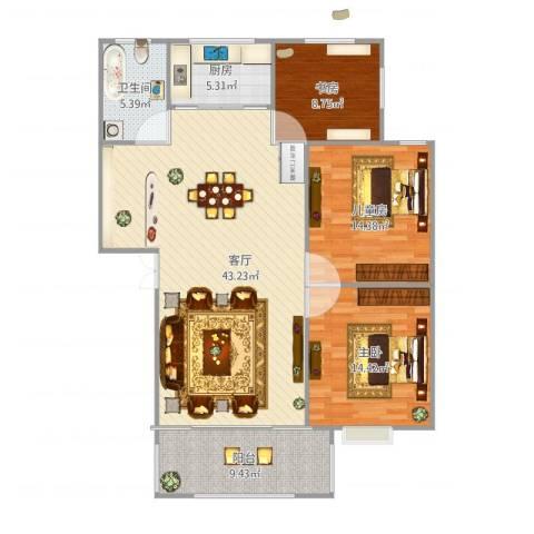 江苏油田石油山庄C43室1厅1卫1厨134.00㎡户型图