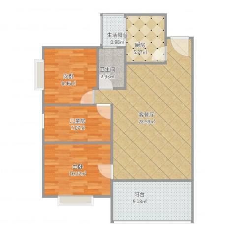 丰泽园3室1厅1卫1厨100.00㎡户型图