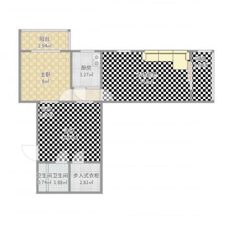 双旗杆东里1室1厅2卫1厨69.00㎡户型图