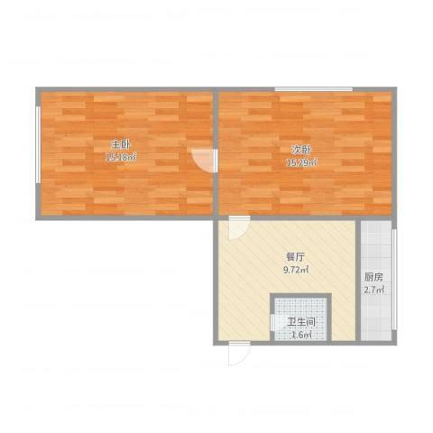 星海街2室1厅1卫1厨60.00㎡户型图