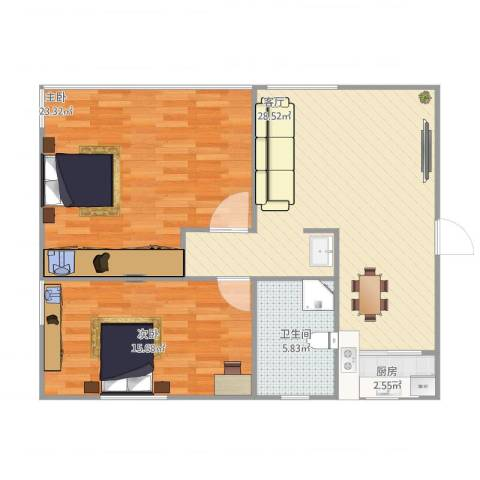 孙桥花苑2室1厅1卫1厨101.00㎡户型图