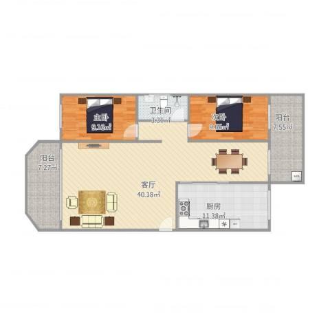 聚贤阁5号401房2室1厅1卫1厨119.00㎡户型图