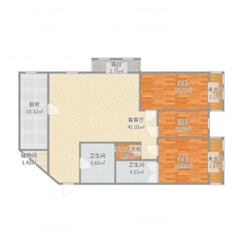白泽弄3室1厅2卫1厨140.00㎡户型图