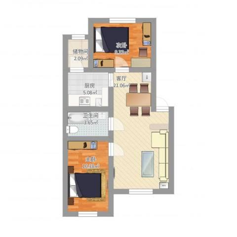 轻铁湖西花园2室1厅1卫1厨78.00㎡户型图