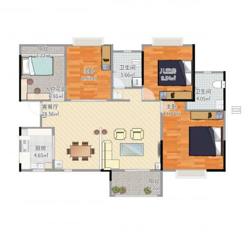 利海米兰春天4室1厅2卫1厨116.00㎡户型图